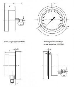 đồng hồ đo áp suất 5331  suku