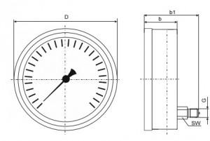 Đồng hồ đo áp suất 8751với bản chân sau