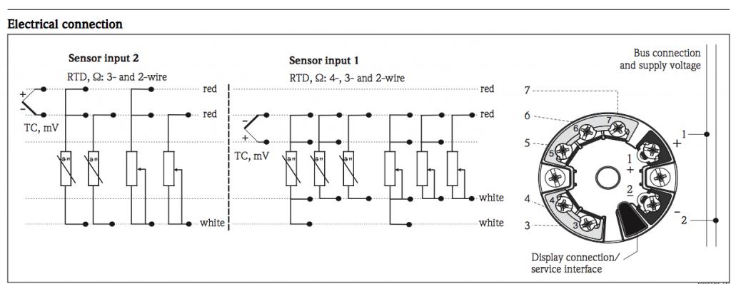 Sơ đồ kết nối Bộ chuyển đổi tín hiệu pt100 Endress hauser TMT84