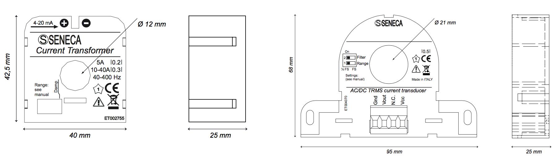 Kích thước biến dòng T201DC
