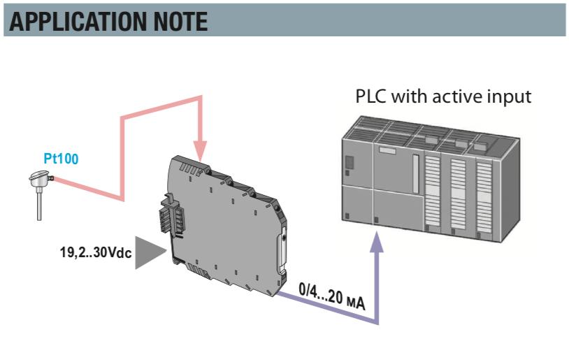 Sơ đồ sử dụng bộ chuyển đổi PT100 sang 4-20mA K109PT Seneca