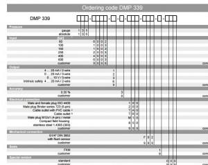 Bảng code cảm biến áp suất dmp 339