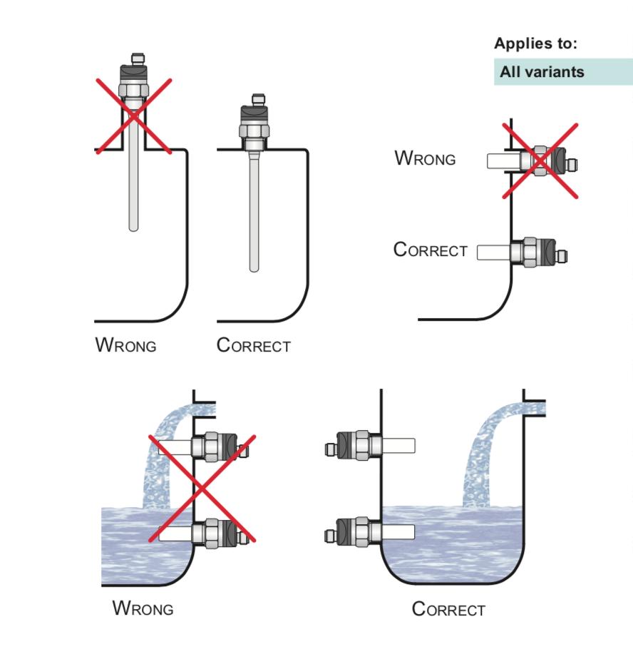 Cách lắp đặt cảm biến đo mức dạng điện cực