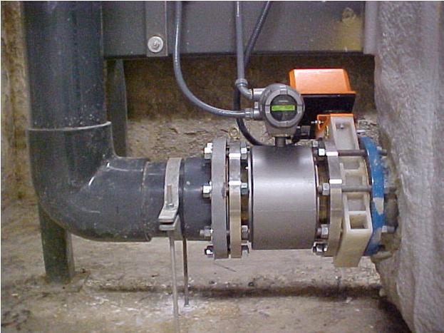 đồng hồ đo lưu lượng nước xả thải trong đường ống
